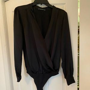 Black satin wrap front bodysuit from Abercrombie